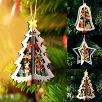 1PC New Christmas Tree Ornaments Xmas Tree Home Party Decor 3D Pendants Wooden Pendant freeship 14 days