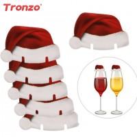 Hats Christmas Decoration 30pcs Santa Claus Hats Paper Wineglass Card Christmas Ornaments Wine Glass freeship 14 days