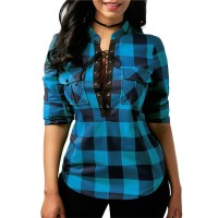 Women Plaid Shirts Long Sleeve Blouses Shirt Office Lace up Tunic Casual Tops freeship 14 days