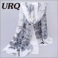 Long Chiffon Silk scarves Designer Woman Fashion New Design Peacock Flower print scarves P5A16280