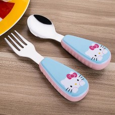 2pcs/ Set Children Spoon Portable Kids Stainless Steel Fork Safety Baby Feeding Spoon Eating Training Spork Infant Tableware
