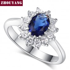 Top Quality Princess Kate Blue Gem Created Blue Crystal Silver Color Wedding Finger Crystal Ring Brand Jewelry for Women ZYR076. Free Shipping May Take 15-30 days.
