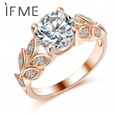 IF ME Wedding Crystal Silver Color Rings Leaf Engagement Gold Color Cubic Zircon Ring Fashion New Brand Bijoux For Women Jewelry ship 20-39 days