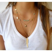 Hot Fashion Gold Color Multilayer Coin Tassels Lariat Bar Necklaces Beads Choker Feather Pendants Necklaces For Women Bijoux Free ship 30-60 days