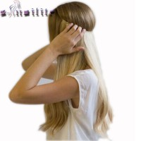 S-noilite 20 inches Invisible Wire No Clips in Hair Extensions Secret Fish Line Hairpieces Silky Straight real natural Synthetic free ship 4-14 days